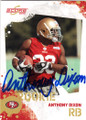 ANTHONY DIXON SAN FRANCISCO 49ers AUTOGRAPHED ROOKIE FOOTBALL CARD #12214i