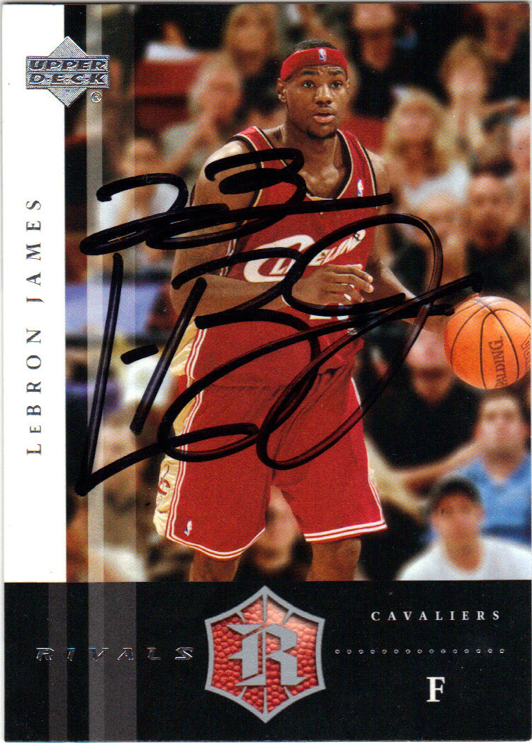 online store 6d054 c997f LeBRON JAMES CLEVELAND CAVALIERS AUTOGRAPHED ROOKIE BASKETBALL CARD #12514N