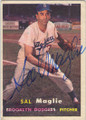 SAL MAGLIE BROOKLYN DODGERS AUTOGRAPHED VINTAGE BASEBALL CARD #12514T