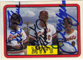 VIDA BLUE, FRANK ROBINSON & JOE MORGAN SAN FRANCISCO GIANTS TRIPLE AUTOGRAPHED VINTAGE BASEBALL CARD #12814S
