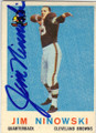 JIM NINOWSKI CLEVELAND BROWNS QUARTERBACK AUTOGRAPHED VINTAGE ROOKIE FOOTBALL CARD #31014A