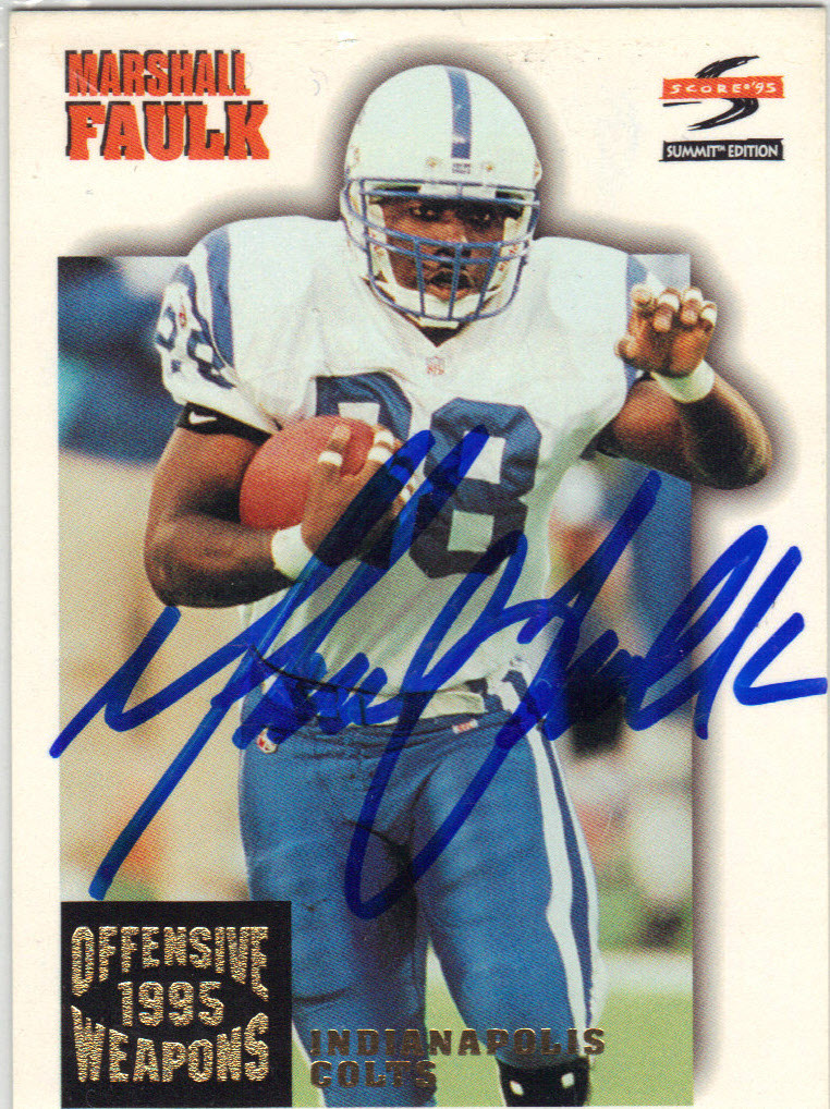 Marshall Faulk Indianapolis Colts Autographed Rookie Football Card 31414c