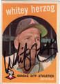 WHITEY HERZOG KANSAS CITY ATHLETICS AUTOGRAPHED VINTAGE BASEBALL CARD #32414N