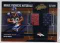 MAURICE CLARETT DENVER BRONCOS AUTOGRAPHED & NUMBERED DOUBLE PIECE OF THE GAME ROOKIE FOOTBALL CARD #40914H