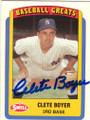 CLETE BOYER NEW YORK YANKEES AUTOGRAPHED BASEBALL CARD #50514i