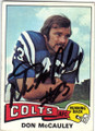 DON McCAULEY BALTIMORE COLTS AUTOGRAPHED VINTAGE FOOTBALL CARD #51014C
