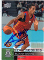 BRANDON JENNINGS MILWAUKEE BUCKS AUTOGRAPHED ROOKIE BASKETBALL CARD #51214G