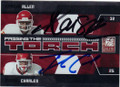 MARCUS ALLEN & JAMAAL CHARLES KANSAS CITY CHIEFS DOUBLE AUTOGRAPHED & NUMBERED FOOTBALL CARD #51914D