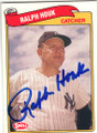 RALPH HOUK NEW YORK YANKEES AUTOGRAPHED BASEBALL CARD #52814F