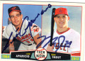 LUIS APARICIO AND MIKE TROUT BALTIMORE ORIOLES AND LOS ANGELES ANGELS OF ANAHEIM DOUBLE AUTOGRAPHED BASEBALL CARD #60414M