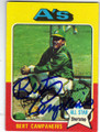 BERT CAMPANERIS OAKLAND ATHLETICS AUTOGRAPHED VINTAGE BASEBALL CARD #60614H