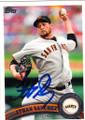 JONATHAN SANCHEZ SAN FRANCISCO GIANTS AUTOGRAPHED BASEBALL CARD #61814B