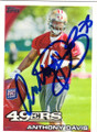 ANTHONY DAVIS SAN FRANCISCO 49ers AUTOGRAPHED ROOKIE FOOTBALL CARD #80614G