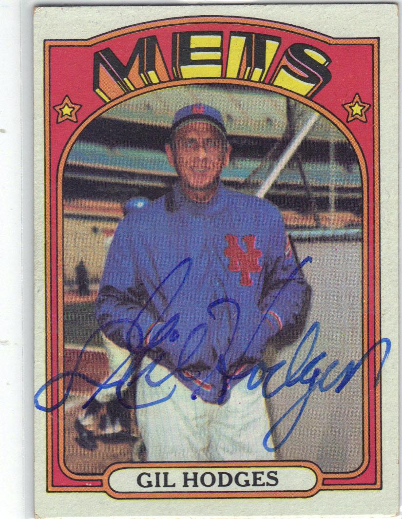 Gil Hodges New York Mets Autographed Vintage Baseball Card 80814b