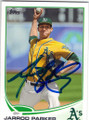 JARROD PARKER OAKLAND ATHLETICS AUTOGRAPHED BASEBALL CARD #101614L