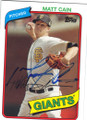 MATT CAIN SAN FRANCISCO GIANTS AUTOGRAPHED BASEBALL CARD #101714H