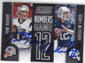 TOM BRADY & ANDREW LUCK PATRIOTS & COLTS DOUBLE AUTOGRAPHED FOOTBALL CARD #101914L
