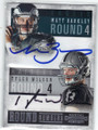 MATT BARKLEY & TYLER WILSON PHILADELPHIA EAGLES AND OAKLAND RAIDERS DOUBLE AUTOGRAPHED FOOTBALL CARD #102014i