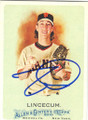TIM LINCECUM SAN FRANCISCO GIANTS AUTOGRAPHED BASEBALL CARD #110314J