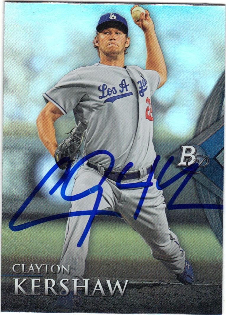 Clayton Kershaw Los Angeles Dodgers Autographed Baseball Card 112114i
