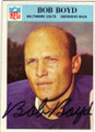 BOB BOYD BALTIMORE COLTS AUTOGRAPHED VINTAGE FOOTBALL CARD #112514S