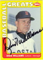 DICK WILLIAMS BOSTON RED SOX AUTOGRAPHED BASEBALL CARD #112614J