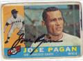 JOSE PAGAN SAN FRANCISCO GIANTS AUTOGRAPHED VINTAGE BASEBALL CARD #120414E