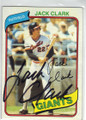 JACK CLARK SAN FRANCISCO GIANTS AUTOGRAPHED VINTAGE BASEBALL CARD #120614J