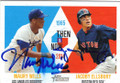MAURY WILLS & JACOBY ELLSBURY LOS ANGELES DODGERS AND BOSTON RED SOX DOUBLE AUTOGRAPHED BASEBALL CARD #120814E