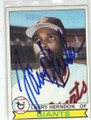 LARRY HERNDON SAN FRANCISCO GIANTS AUTOGRAPHED VINTAGE BASEBALL CARD #120914C