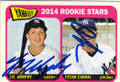 JR MURPHY & CESAR CABRAL NEW YORK YANKEES DOUBLE AUTOGRAPHED ROOKIE BASEBALL CARD #121514G