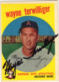 WAYNE TERWILLIGER KANSAS CITY ATHLETICS AUTOGRAPHED VINTAGE BASEBALL CARD #121514M