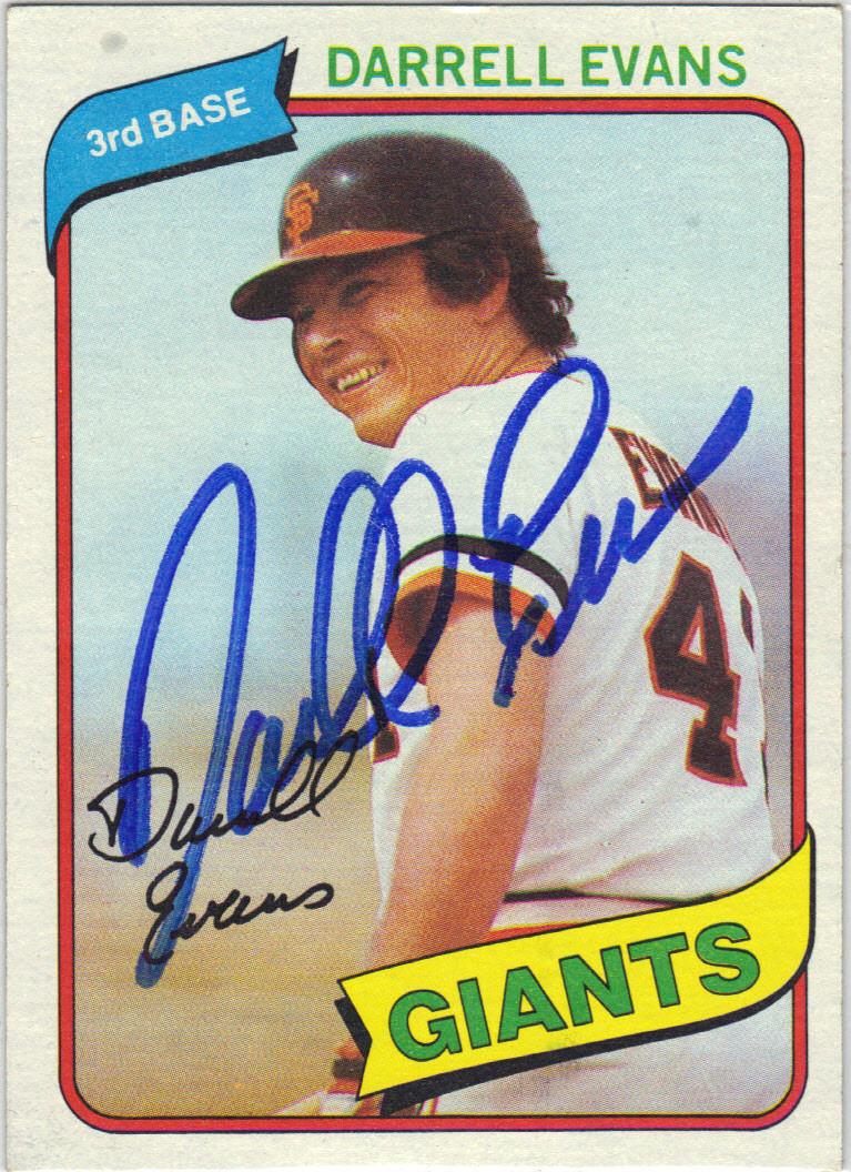 Darrell Evans San Francisco Giants Autographed Vintage Baseball Card 10815i