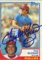 TUG McGRAW PHILADELPHIA PHILLIES AUTOGRAPHED VINTAGE BASEBALL CARD #11015J