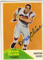 DOUG CLINE HOUSTON OILERS AUTOGRAPHED VINTAGE ROOKIE FOOTBALL CARD #11115i