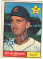 LOU KLIMCHOCK KANSAS CITY ATHLETICS AUTOGRAPHED VINTAGE ROOKIE BASEBALL CARD #11315N