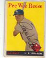 PEE WEE REESE LOS ANGELES DODGERS AUTOGRAPHED VINTAGE BASEBALL CARD #12115M