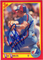 REX HUDLER MONTREAL EXPOS AUTOGRAPHED BASEBALL CARD #12215F