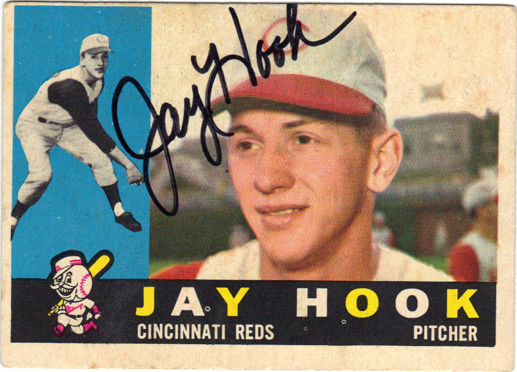 Jay Hook Cincinnati Reds Autographed Vintage Rookie Baseball Card 12915g