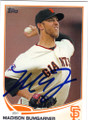MADISON BUMGARNER SAN FRANCISCO GIANTS AUTOGRAPHED BASEBALL CARD #20315H