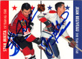 STAN MIKITA & JEAN VELIVEAU CHICAGO BLACKHAEKS AND MONTREAL CANADIENS DOUBLE AUTOGRAPHED HOCKEY CARD #20615B