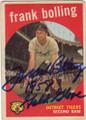 FRANK BOLLING DETROIT TIGERS AUTOGRAPHED VINTAGE BASEBALL CARD #21015G