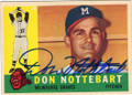 DON NOTTEBART MILWAUKEE BRAVES AUTOGRAPHED ROOKIE BASEBALL CARD #22215P