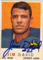 JIM DAVID DETROIT LIONS AUTOGRAPHED VINTAGE FOOTBALL CARD #22715G