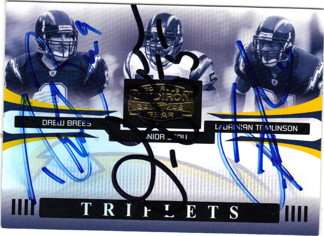 best sneakers 5b007 6e311 DREW BREES, JUNIOR SEAU & LaDAINIAN TOMLINSON SAN DIEGO CHARGERS TRIPLE  AUTOGRAPHED & NUMBERED FOOTBALL CARD #31115L