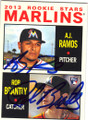 AJ RAMOS & ROB BRANTLY FLORIDA MARLINS DOUBLE AUTOGRAPHED BASEBALL CARD #31715H
