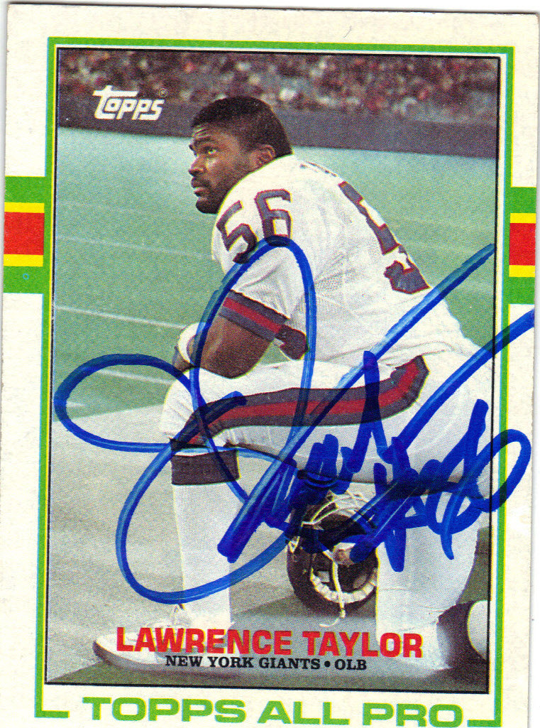 info for 9df9a a7de9 LAWRENCE TAYLOR NEW YORK GIANTS AUTOGRAPHED VINTAGE FOOTBALL CARD #31915D