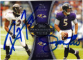 RAY LEWIS & JOE FLACCO BALTIMORE RAVENS DOUBLE AUTOGRAPHED FOOTBALL CARD #31915H