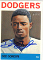 DEE GORDON LOS ANGELES DODGERS AUTOGRAPHED BASEBALL CARD #32415B