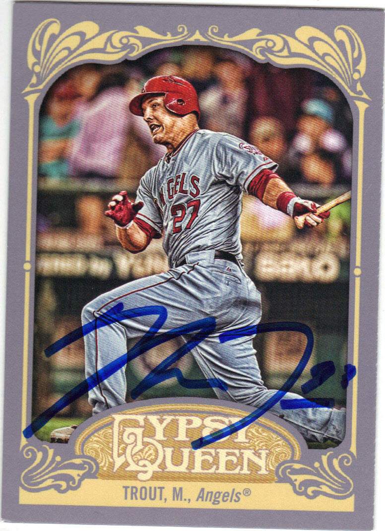 Mike Trout Los Angeles Angels Of Anaheim Autographed Rookie Baseball Card 32615e